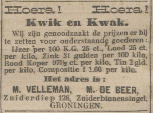 Advertentie in het Nieuwsblad van het Noorden, 3 maart 1915